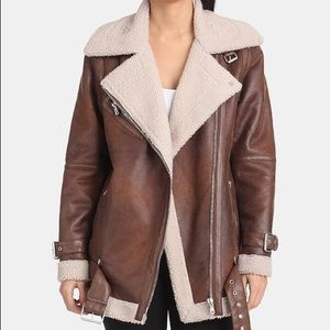 AVEC LES FILLES Faux-Shearling Moto Jacket